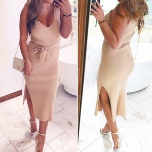 Tan knit wrap midi dress